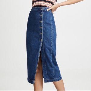 NEW Free People Jasmine Denim Midi Skirt